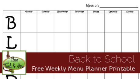 Free Weekly Menu Planner Printable from Classic Tassels and More