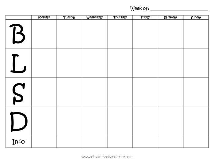 Weekly Menu Plan from Classic Tassels & More