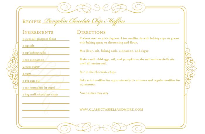 Pumpkin Chocolate Chip Muffins Recipe Card|classictasselsandmore.com