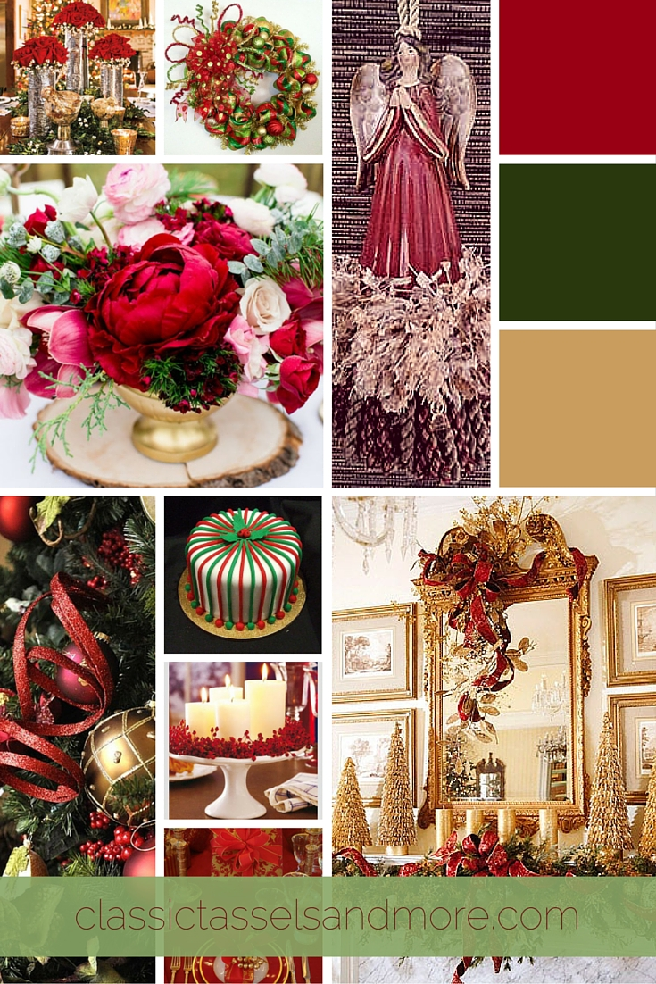 December 2015 Mood Board: Elegant Red, Green, and Gold|classictasselsandmore.com