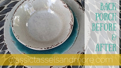 Before and After: A Back Porch Makeover with Gray, Yellow, and Teal   www.classictasselsandmore.com