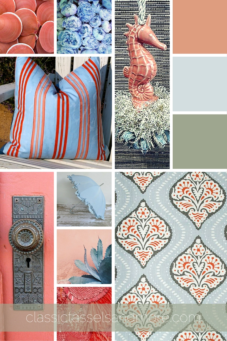 A June Mood Board: Breezy Coral, Blue, and Gray | www.classictasselsandmore.com