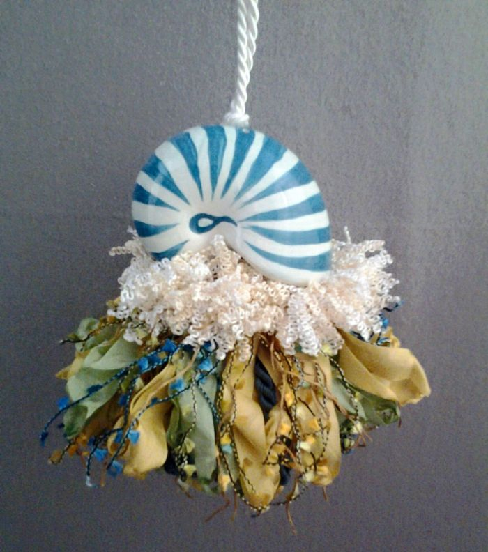 Blue and White Conch Sea Shell Tassel | www.classictasselsandmore.com
