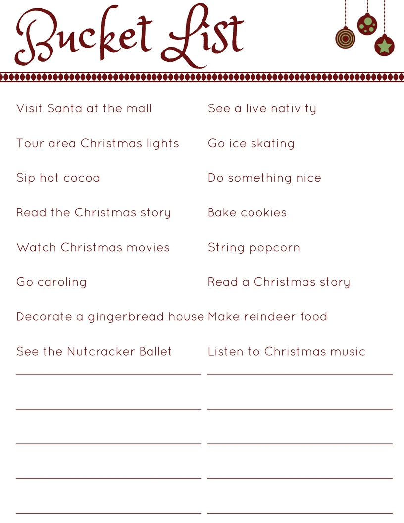 Countdown to Christmas Planner - JPG - Bucket List | www.classictasselsandmore.com