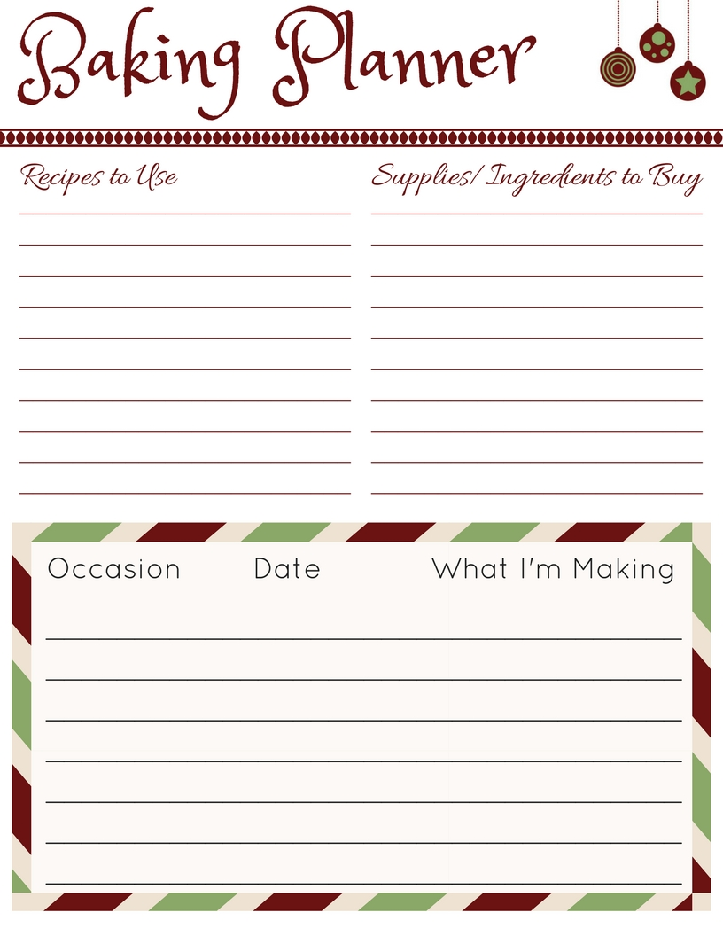 Countdown to Christmas Planner - JPG - Baking Planner | www.classictasselsandmore.com
